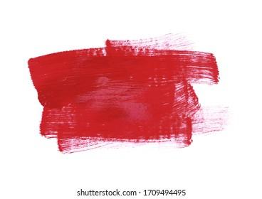 Red brush stroke isolated on white background