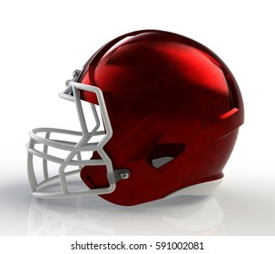 Red brushed galvanized american football helmet side view on a white background with detailed clipping path, 3D rendering