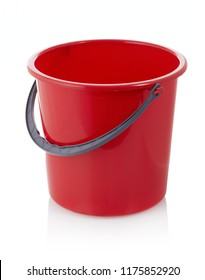 Red bucket on white