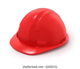 Red builder's helmet isolated on white background