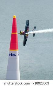 Red Bull Air Race 2017 Porto - Challenger Class plane flying vertical passing pylon