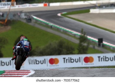 RED BULL RING - AUSTRIA, AUGUST 12: Spanish Yamaha rider Maverick Vinales at 2017 Nero Giardini MotoGP of Austria at Red Bull circuit on August 12, 2017