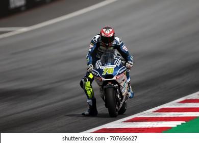 RED BULL RING - AUSTRIA, AUGUST 9: French Ducati rider Loris Baz at 2017 Nero Giardini MotoGP of Austria at Red Bull circuit on August 9, 2017
