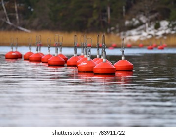 Red buoys floating on the coast of Baltic Sea in Inkoo archipelago on late autumn cold and overcast day with snow on the shore and orange reeds in the distance horizon.