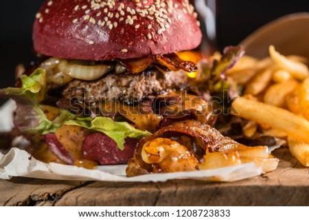 red burger menu halloween party dark stock photo edit now
