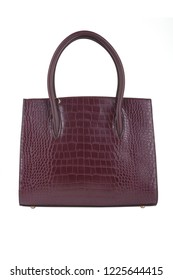 Red Burgundy Women's Medium Sized Faux Leather Shell Top Hand Tote Purse