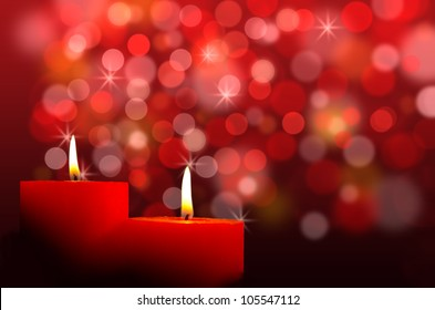 Red burning candles, against red background
