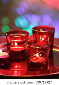 Red burning candles/ christmas background
