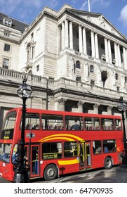Red bus by Bank of England, London