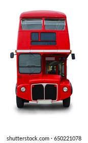 Red bus vintage design isolated on white background. This has clipping path.