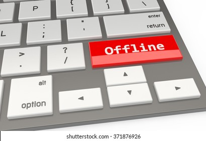 A Red button Offline on keyboard 3d rendering
