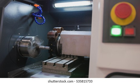 Red button start of automatic for machine processing  metal, industrial background