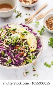 Red Cabbage, Cabbage, Almonds, Apple and Germinated Seeds Summer Salad with Turmeric Sauce
