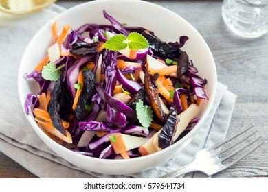 Red Cabbage Coleslaw Salad with Carrots, Apples and Prunes - healthy diet, detox, vegan, vegetarian, vegetable spring salad