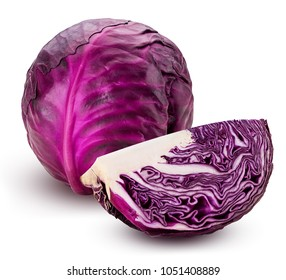 Red cabbage one slice isolated on white background. Clipping Path.