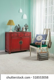 red cabinet asian living room interior with green wall, modern lamp