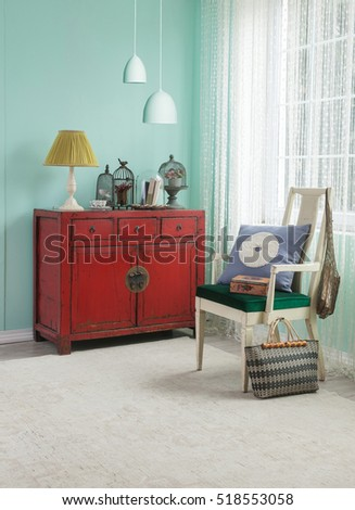 Asian red cabinet