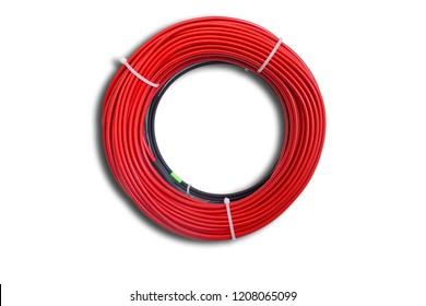 Red cable skein on a white background
