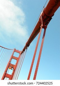 Red cables of the famous golden gate bridge in San Francisco with blue sky as background, USA.