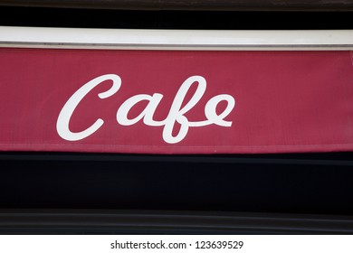Red Cafe Sign on Material