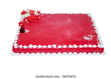 Red cake with cream, isolated on white