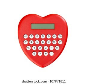 red calculator heart shaped isolated on white