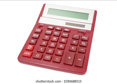 Red calculator isolated on white background, close up, side view