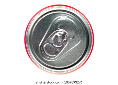 Red can on white background, view from the top