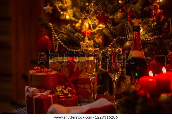 Christmas Day Celebration.Red Candle Celebration Christmas Day Stock Photo Edit Now