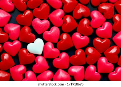 Red candy hearts background