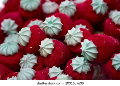 Red candy marshmallows trawberriespile - close up background. Selective focus. High quality photo