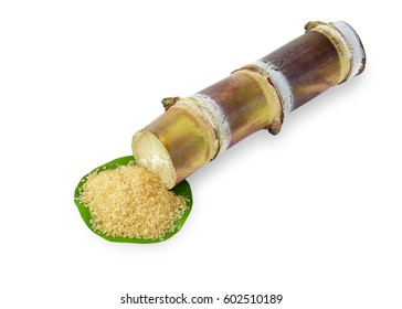 Red cane cut with brown organic sugar  isolated on white background. This has clipping path.