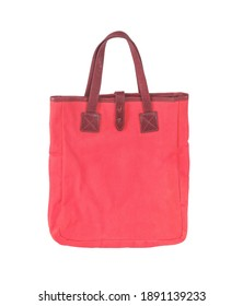 Red canvas bag isolated on white background with clipping path