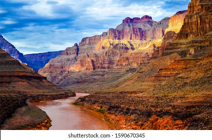 Red canyon river valley landscape. Canyon river view. Mountain red canyon river valley landscape. River valley in red canyon