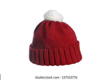 1a8184ebc1d44 Winter hat isolated flat vector. red cap isolated over a white background    red cap