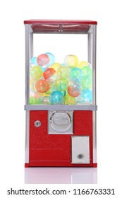 red capsule toy vending machine on white background