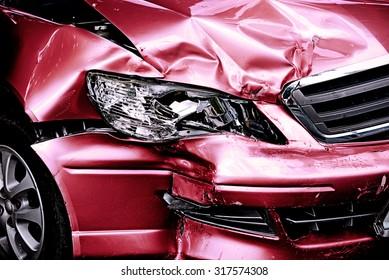 Red Car crash background