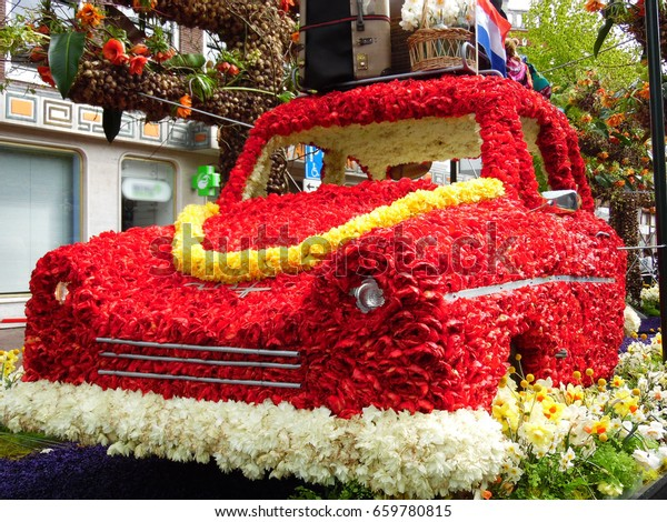 Red Car Decorated Flowers Flower Parade Stock Photo Edit