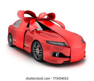 Red car and gift bow and ribbon on white background. 3d illustration