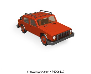 Red car on white reflective background.