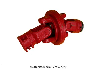 Red cardan joint. Isolated on white.