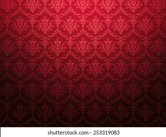 Red cardinal wallpaper with red floral pattern