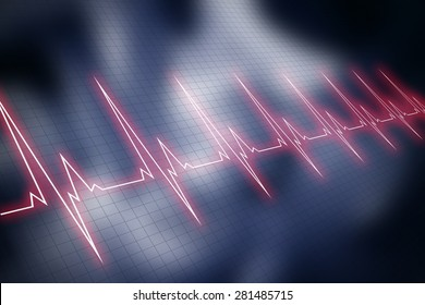 Red cardiogram graphic line over blue blurry image of cardiopulmonary resuscitation. Vital signs.