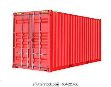 Red Cargo Container. Isoalted on white background. 3D Illustration