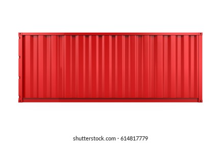 Red Cargo Container Isolated. 3D rendering