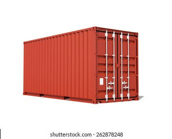 Red cargo container isolated on white, 3d illustration