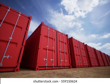 Red cargo containers in the row