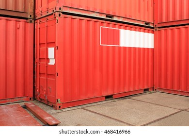 Red cargo shipping containers