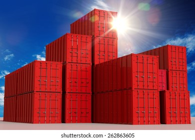Red Cargo Shipping Containers and the Sunny Sky. International Cargo Concept 3D Illustration.