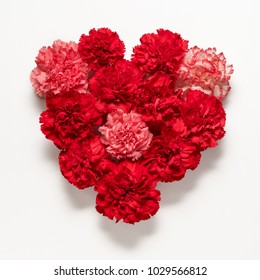 Red carnations flowers in shape of heart on white background. Flat lay. Love concept.
